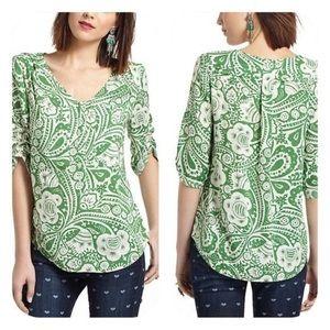 MAEVE Charleston Henley peasant print shirt S